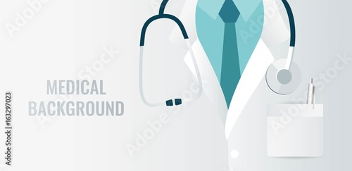 Fototapeta Medical background with close up of doctor with stethoscope. Vector illustration obraz