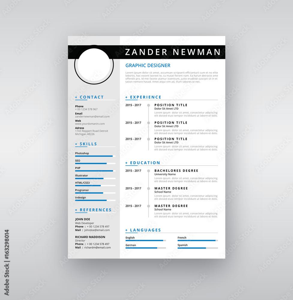 cv cz Fotografie, Obraz CV Resume Clean Design Vector Template