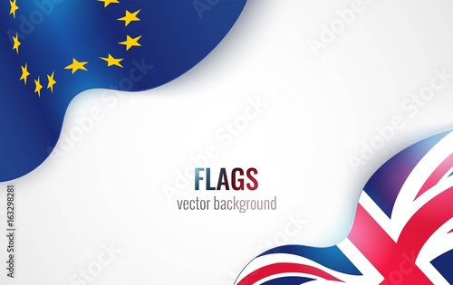Photo  Flags of the United Kingdom and the European Union isolated on white background