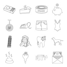 History, Travel, Fashion And Other Web Icon In Outline Style.finance, Crime, Drug Icons In Set Collection.