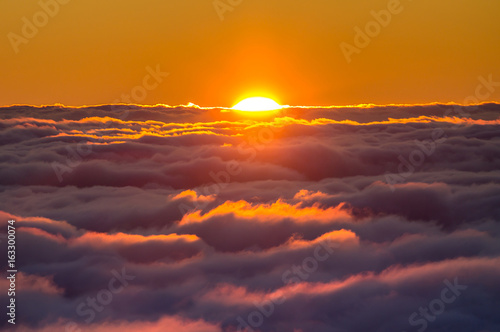 Photo  Sunset above the clouds