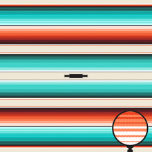 Turquoise, Orange & Navajo White Blanket Stripes Seamless Vector Pattern. Mexican Serape Rug Texture With Threads. Native American Textile. Ethnic Boho Background. Pattern Tile Swatch Included.