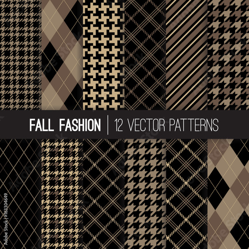 Fall Fashion Textile Patterns in Brown, Taupe Beige and Khaki Wallpaper Mural