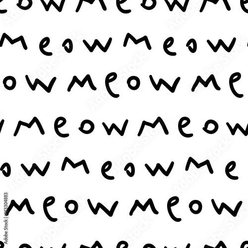 Seamless vector pattern with handwritten text, meow Wallpaper Mural