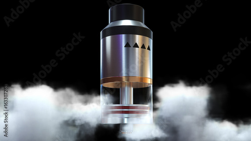 Rebuildable dripping atomizer in vape clouds. 3d render Wallpaper Mural
