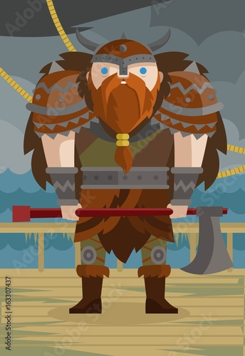 Photo  cute viking on ship in the sea