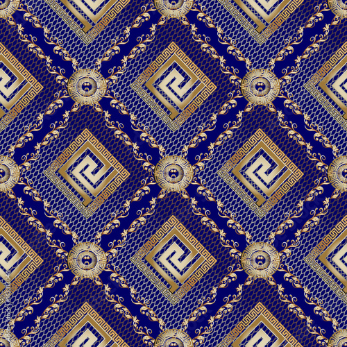 Modern Geometric Seamless Pattern With Gold 3d Greek Key Lace And Vintage Ornaments