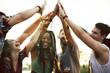 Leinwanddruck Bild - Friends Hands Together Unity at Festival Event
