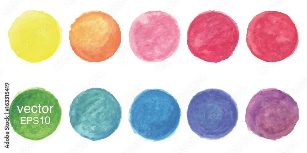 Fototapety, obrazy: Vector watercolor circle background