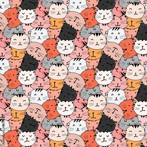 Hand Drawn Cute Cat Vector Pattern. Doodle art. Tapéta, Fotótapéta