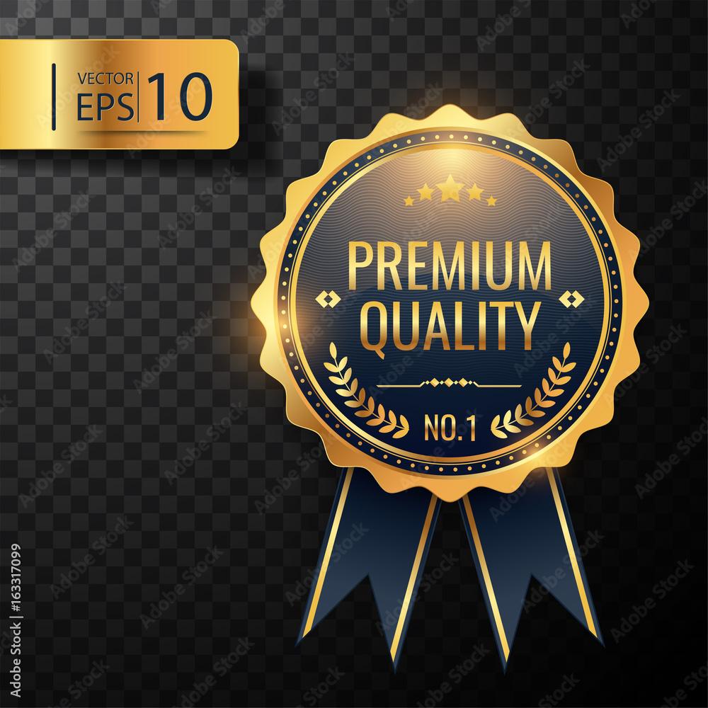 Fototapeta Gold Badge, premium quality, vector illustration