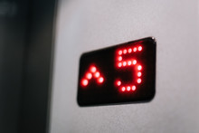 Number Five On A Dots Display In A Lift