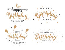 Set Of Happy Birthday Inscriptions Hand Lettering, Brush Ink Calligraphy. Vector Illustration