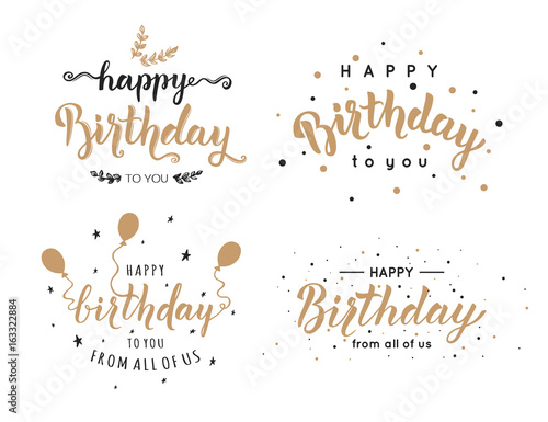 Photo  Set of Happy Birthday inscriptions hand lettering, brush ink calligraphy