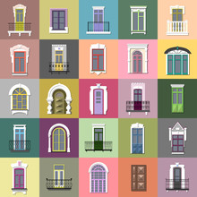 Vector Set Of Flat Vintage Different Decorative Doors, Windows, Balconies On Colorful Squares.