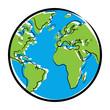 Farbige Zeichnung Globus / Vektor, freigestellt