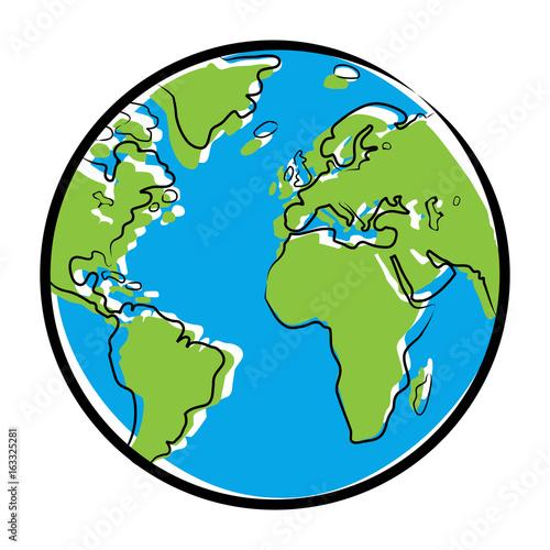 Foto  Farbige Zeichnung Globus / Vektor, freigestellt
