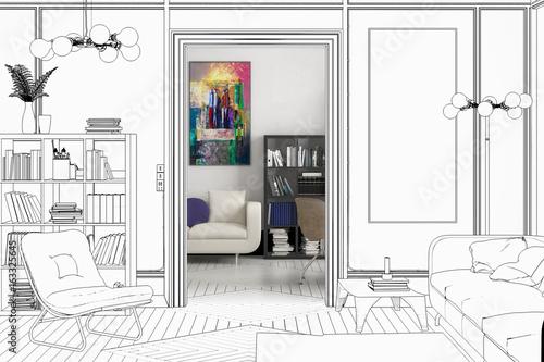 Apartment Einrichtung projekt einer apartment-einrichtung (entwurf) - buy this stock