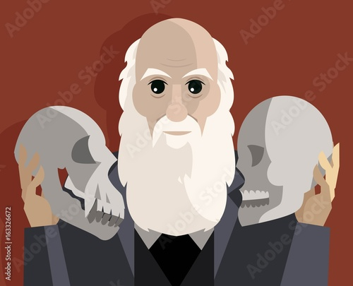 Fotografía great biologist with two skulls thinking about theory of evolution