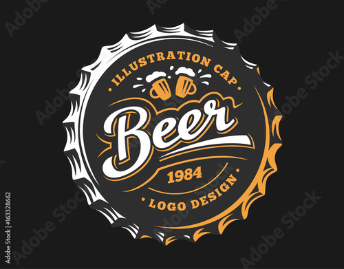 Fotografie, Obraz Mug beer logo on cap - vector illustration, emblem brewery design on dark backgr