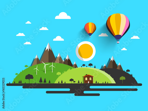 Poster Turquoise Flat Design Nature. Abstract Vector Natural Scene.