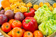 Colorful fruits and vegetables in the basket.