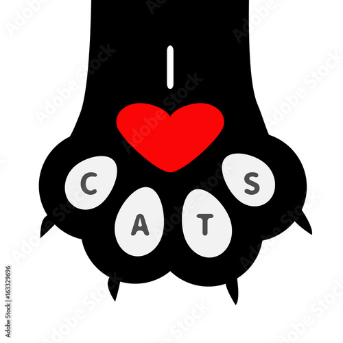 I Love Cats Text Big Black Cat Paw Print Leg Foot With Nail Claw