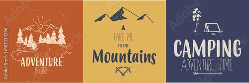 Fotografía  Set of 3 colorful camping logos