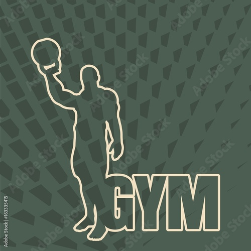 Bodybuilder With Kettlebell Outline Silhouette On Honeycomb Backdrop