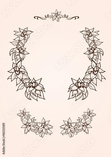 ヴィンテージな植物イラストの飾り枠素材 Adobe Stock でこのストック