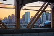 New York City skyline with United Nations building in the middle seen in the sunset from Queensboro Bridge in Manhattan