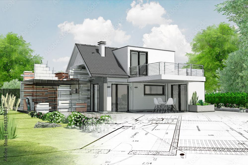 Fototapeta Esquisse de maison par architecte