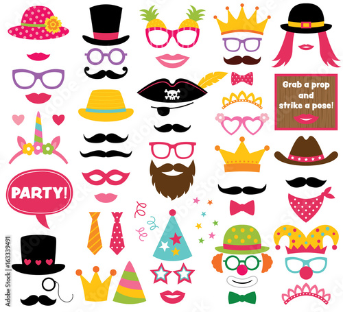 Obraz Fun party hats, vector photo booth props - fototapety do salonu
