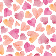 Watercolor Seamless Pattern With Hearts. Watercolor Wedding Background. Watercolor Romantic Texture.
