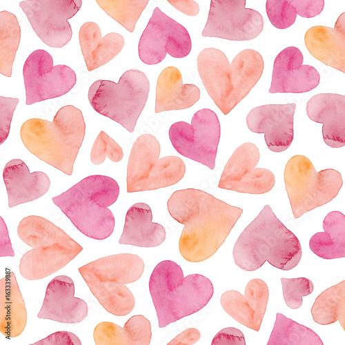 Akwarela bezszwowe wzór z serca. Akwarela tło wesele. Akwarela romantyczna tekstura.