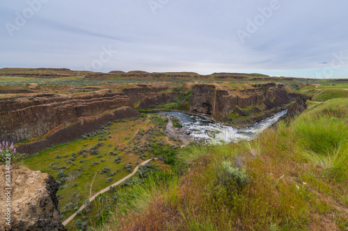Spoed Foto op Canvas Grijze traf. Amazing vertical slopes created by nature. Palouse falls state park, Eastern Washington