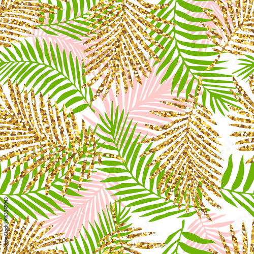 Ingelijste posters Tropische Bladeren Tropical seamless pattern with monstera and palm leaves and golden glitter texture. Vector illustration