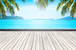 wooden floor and beautiful sea background in summer.