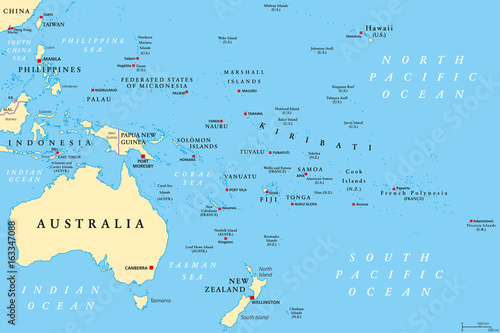 Oceania political map Wallpaper Mural