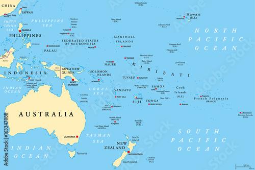 Fototapeta Oceania political map