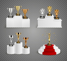 Trophies On Pedestals Realisti...