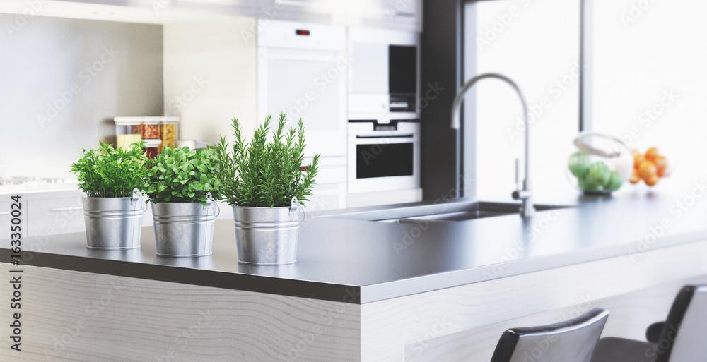 Cucina nuova con design moderno, render 3d Foto, Poster, Wandbilder ...