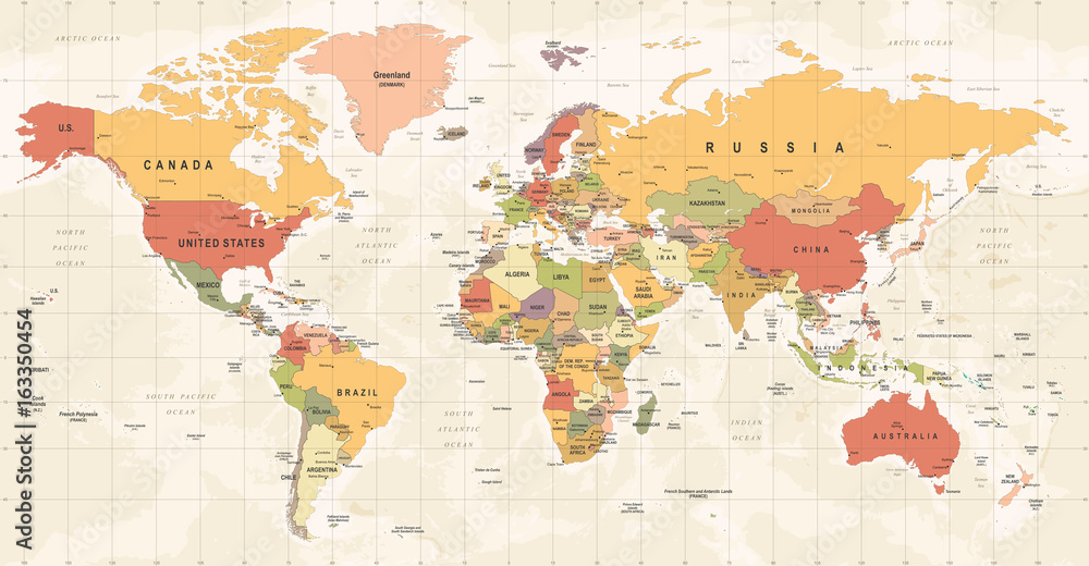 Fototapety, obrazy: World Map Vintage Vector. Detailed illustration of worldmap