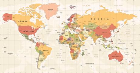 World Map Vintage Vector. D...
