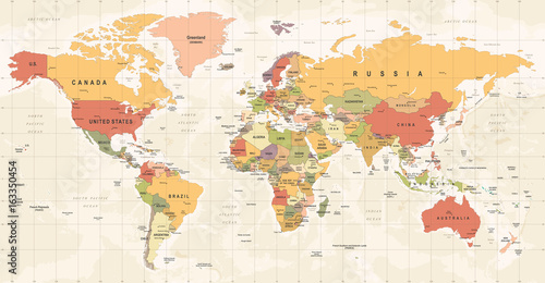 Fotobehang Wereldkaart World Map Vintage Vector. Detailed illustration of worldmap