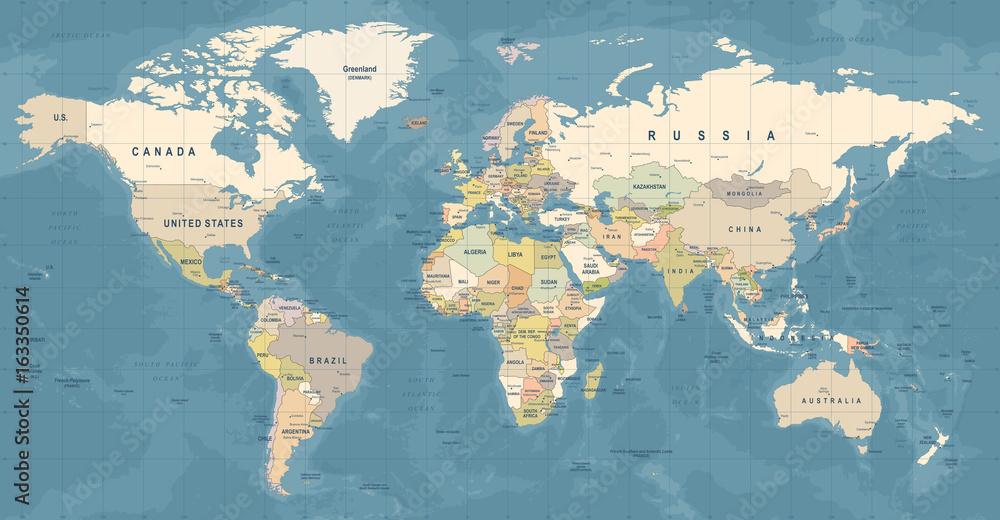 Obraz World Map Vector. Detailed illustration of worldmap fototapeta, plakat