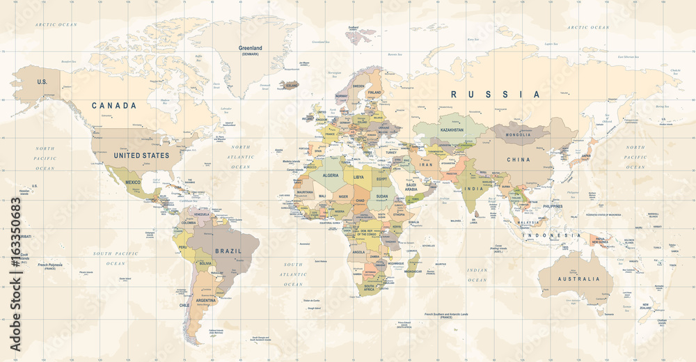 Obraz World Map Vector. Detailed illustration of worldmap fototapeta, plakat