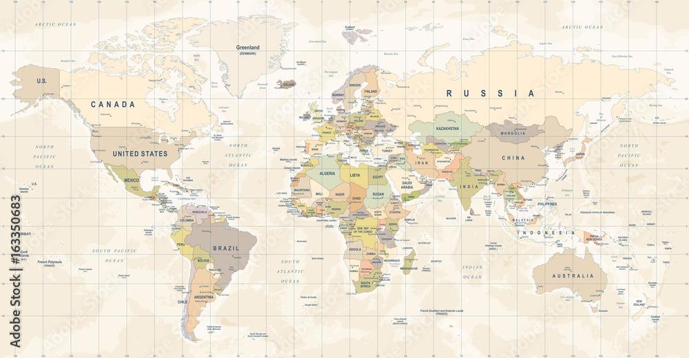 Fototapety, obrazy: Mapa świata fototapeta, szczegółowa ilustracja mapy świata