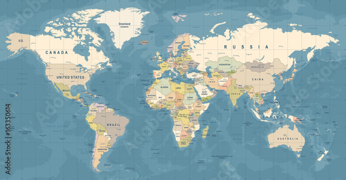 Foto auf Leinwand Weltkarte World Map Vector. Detailed illustration of worldmap