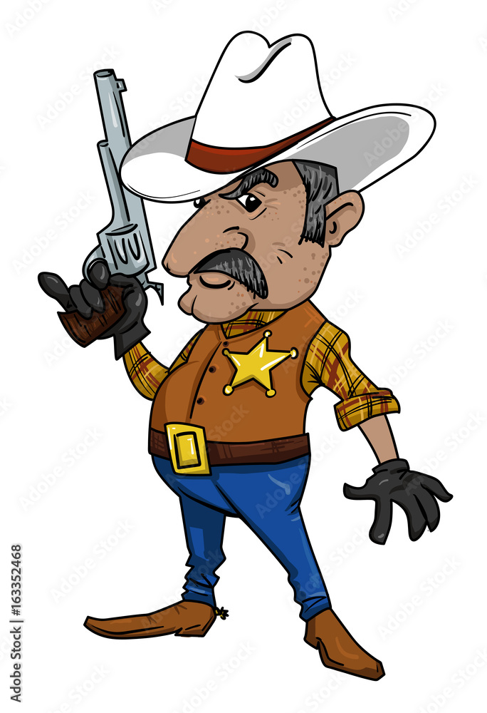 Fototapeta Cartoon image of sheriff. An artistic freehand picture.